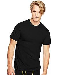 Men's Traditional Fit Tagless Crewneck Undershirt 3-PK,Black,L