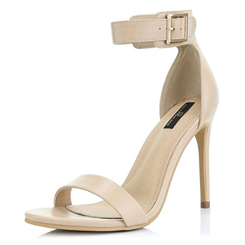 DailyShoes Women's Fashion Open Toe Ankle Buckle Strap Platform High Heel Casual Sandal Shoes, Nude PU, 9 B(M) US
