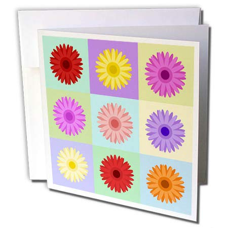 3dRose Natalie Paskell - Flora and Fauna - Colorful Gerbera Flower Illustrations in Squares. - 1 Greeting Card with Envelope (gc_293381_5)