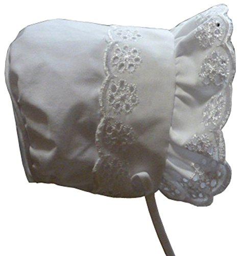Back Bonnet (N'ice Caps Baby Girl Closed Back Bonnet with Piping (12 months), White)