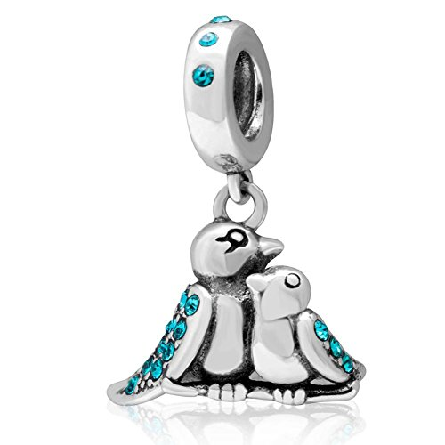 Choruslove Mother Baby Birds Charms with Blue Crystal 925 Sterling Silver Dangle Bead for Mother's Day Gift