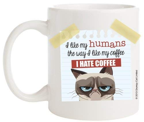 (LGDZ Grumpy Cat Coffee Mug, I Like My Humans The Way I Like My Coffee I Hate)