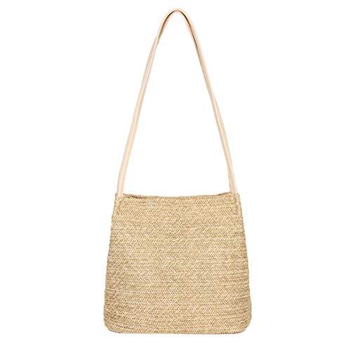Fashion Buckle Pink Straw Beige for Bag Handbag Woven Casual Bucket Bags Girls Shoulder Bag Women qtxxH4En