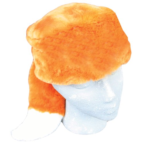 [Teen/Adult Faux Fur Fox Animal Hat Cap, Large, Orange White, Lined] (Fox Hat Costume)