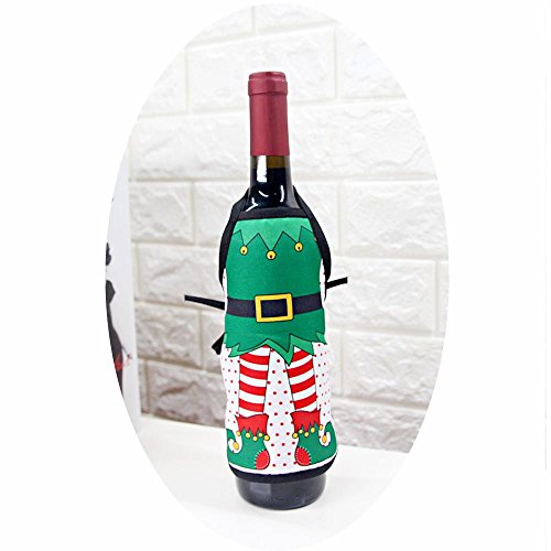 Sexy Funny Christmas Santa Claus Non-woven Fabric Wine Bottle Cover Decoration Gift Bags for Xmas Gift Dinner Party Table Decor, 1 (Non Woven Bottle)