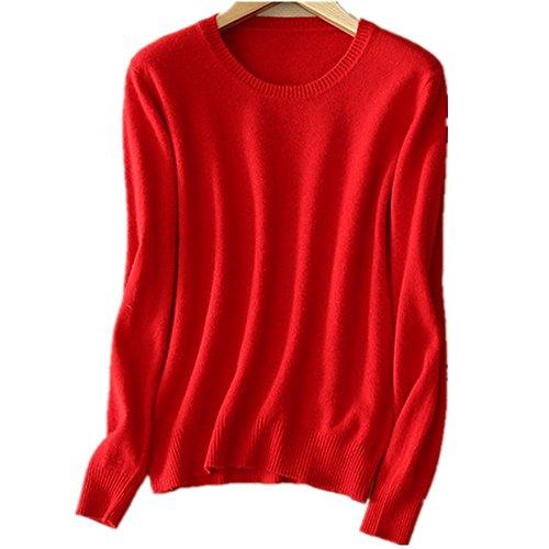 Pullover Maglieria Mmyomi Lunga Red Maglione Camicetta Cashmere Top Womens Lavorato Manica Girocollo A Ladies Maglia UqwqpaX