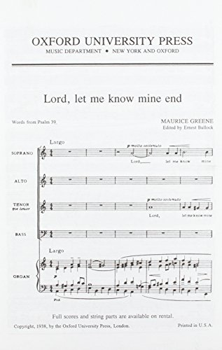 Lord, let me know mine end: Vocal score