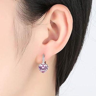 Gahrchian Rhinestones Earrings Stud Swarovski Crystal Pendant Earrings Stud for Women and Girls Gift Jewelry (Purple): Clothing