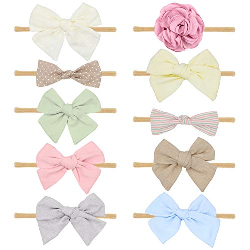 Baby Girl Headbands Bows flowers,10 Pack Hair Accessories for Newborn Infant Toddler Gift by FANCY CLOUDS (solid color)]()