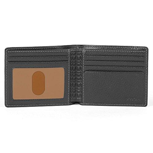 Boconi Tyler Tumbled Rock Solid RFID Billfold Wallet in Black w/Terra Cotta