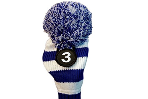 Majek #3 Fairway Metal Wood Blue & White Golf Headcover Knit Pom Pom Retro Classic Vintage Head Cover