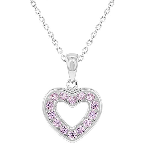 925 Sterling Silver Pink CZ Small Open Heart Pendant Necklace for Girls 16