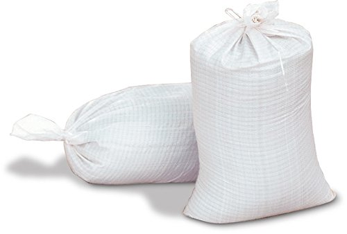 Sand Bags - Empty White Woven Polypropylene Sandbags with Ties, UV Protection; Size: 14 '' x 26 '' by Dirtbags