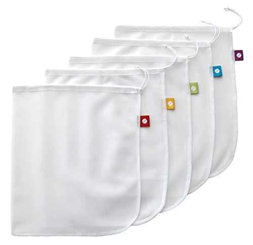 Flip & Tumble Set of 5 Reusable Produce Bags, White