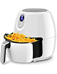 Costzon 4.8 Qt. Electric Air Fryer, Extra Large Capacity, 1500W Air Frying Technology with Touch LCD Screen, Temperature and Time Control (White)