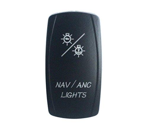 BANDC NAV/ANC LIGHTS Rocker Switch On-off-ON Blue LED Dpdt/7 pins 12v/24v waterproof IP 66 Marine Boat Car