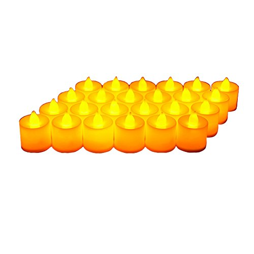 24 Pack LED Tea lights Candles - Flickering Flameless Tealight Candle - Battery Operated Electronic Fake Candles - Decoration for Wedding, Party, Dating and Festival Celebration (Yellow) -