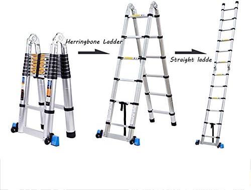 ZR- Escalera Telescópica, Escalera Plegable Multifunción, Escalera Espiga Interior, Escalera Recta Ingeniería Engrosamiento Aleación Aluminio, Escaleras Elevables -Fácil de almacenar y fácil de llevar: Amazon.es: Hogar