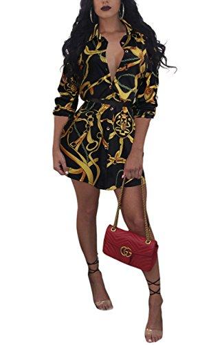 Remelon Womens Gold Chains Print Button Down Collar Long Shirt Dress Blouse Mini Dress Black 2 Medium - Top Gold Chain