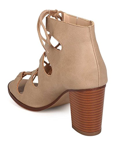 Delicious EH96 Women Leatherette Open Toe Lace Up Chunky Heel Bootie - Light Taupe xUmMtL