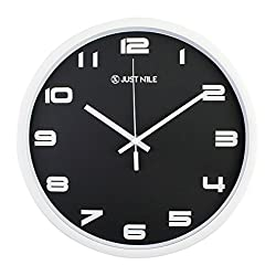 JustNile 12 Silent Sweep Movement Analog Color Wall Clock, Classic Black And White, Modern Decoration for Living Room, Bedroom, Office
