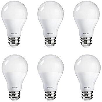 Philips LED A19 Warm Glow Dimmable 800-Lumen, 2700-2200 Kelvin, 9.5-Watt (60-Watt Equivalent) Light Bulb, E26 Medium Base, Soft White, 6-Pack