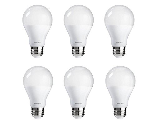 Philips 459057 60 Watt Equivalent Bright White A19 LED Light Bulb, Energy Star Certified, 6-Pack (Philips Led Lighting)