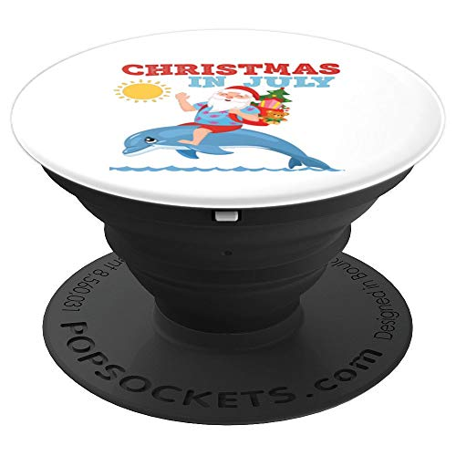 Christmas in July Santa Riding Dolphin  PopSockets Grip and Stand for Phones and Tablets