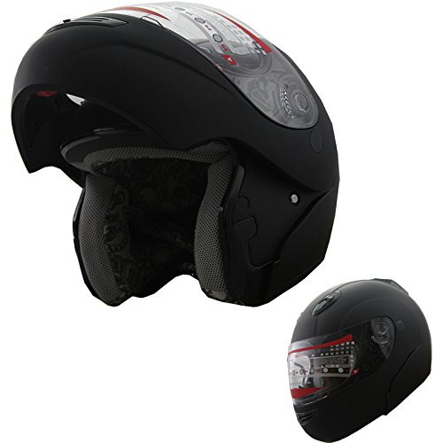 Motorcycle Helmet Adult DOT Modular Flip up Full Face Sports Bike Helmet (Matt Black, XL) from MRC