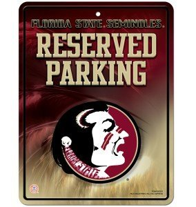 NCAA Florida State Seminoles 8-Inch by 11-Inch Metal Parking Sign Décor