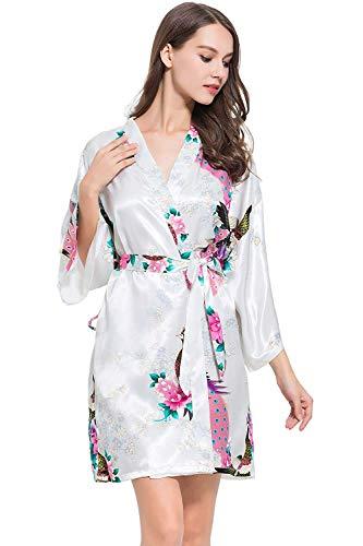 Mujer Para Chic Elegante Albornoz Estampado Tamaño Vestido Rot Pijama Moda Vintage Floral Rosado Un Largo Kimono Ropa Camisón PRqcqv5wE