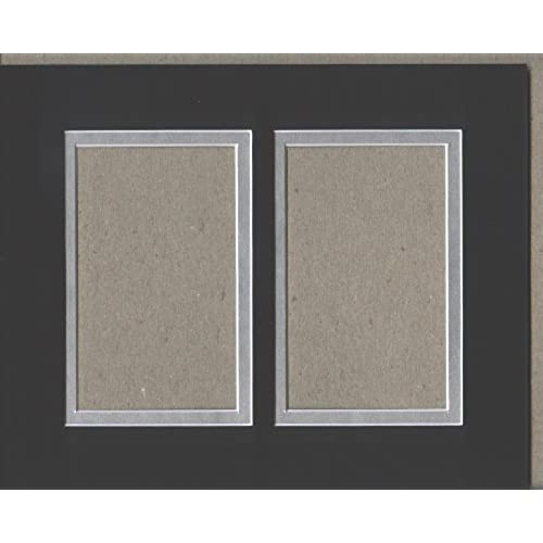 16x20 black silver double picture mat cut for 2 8x10 pictures - Dual Picture Frame