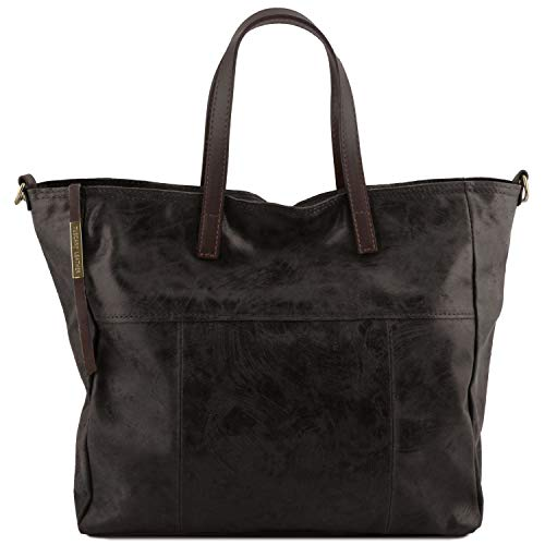 Tuscany Leather Annie - Aged effect leather TL SMART shopping bag - TL141552 (Black)