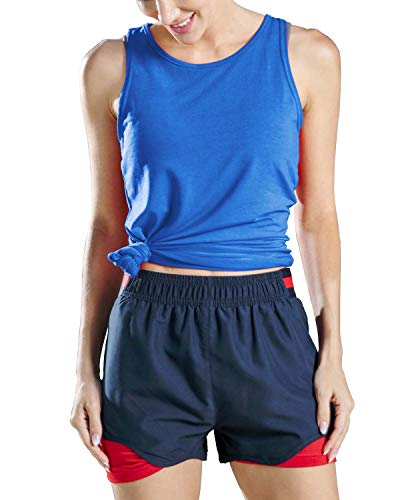 Yaluntalun Yoga Tops for Women Backless Workout Tank Tops Activewear Racerback Tank Top Sleeveless Sports Gym Running Tops Blue