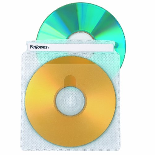 Fellowes CD Sleeves 100 CD Capacity Clear Vinyl Double Sided-50-Pack - Fellowes Cd Storage