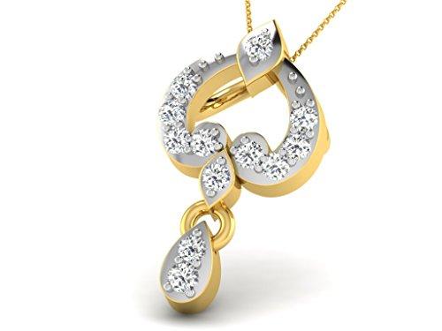 Or Jaune 9 ct Pendentifs Diamant , 0.04 Ct Diamant, GH-SI, 0.44 grammes.