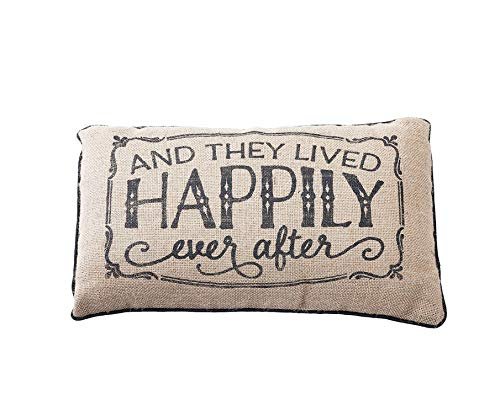 'and They Lived Happily Ever After' Small Burlap Accent Pillow