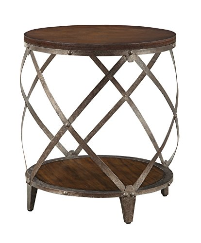 Metal Accent Table with Drum Shape ()