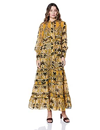 Ministry of Style Women's Gold Light Maxi Dress, Gold Light Print, 10