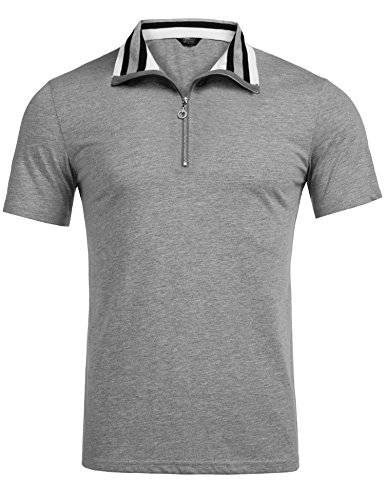 COOFANDY Men's Short Sleeve Polo Shirts Slim Fit Golf Shirt Quarter Zip Polo T-Shirts Grey