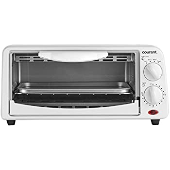 Courant TO-621W 2 Slice Compact Toaster Oven with Bake Tray and Toast Rack, White