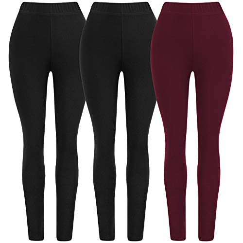 oft Ladies Seamless Solid Compression Ankle Leggings for Women Pack of 3 Color Black Navy Grey Size XS-M ()