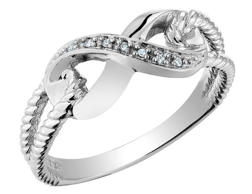 (Infinity Diamond Promise Ring in 10K White Gold)