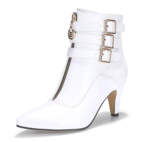 IDIFU Women's Amanda-C Pointed Toe Buckle Strap Ankle Booties Medium Chunky Heel Short Boots with Zipper (White, 8.5 M US)