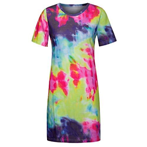 2019 Dress Tops for Women, Fashion Women Casual O-Neck Short Sleeve Colorful Print T-Shirt Tee Tops Dress Red