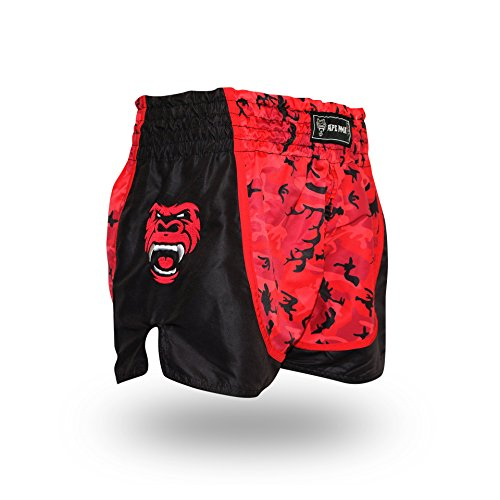 Ape MMA Premium Muay Thai Shorts for Kickboxing, Thai Boxing, MMA and Striking 5+ Styles (Large, Red Camo)