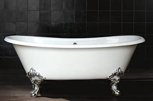 71 double slipper cast iron tub with 7 rim holes and polished nickel feet. – Vanessa