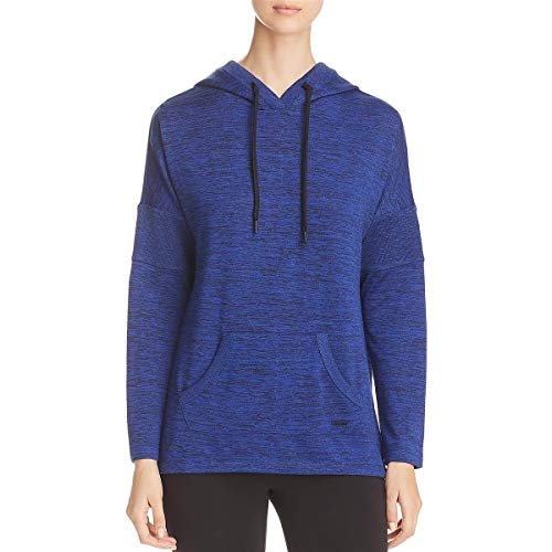 Marc New York Performance Women's Marled Sweater-Knit Hooded Tunic, Cerulean XL