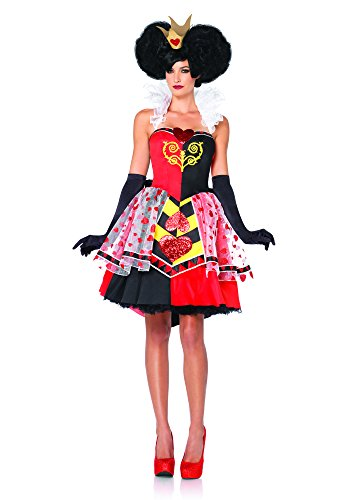 Leg Avenue Women's Disney 3Pc. Queen Of Hearts Costume, Black/Red, Medium