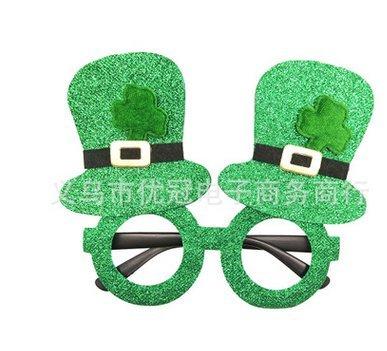 St Patrick's Day Plastic Shamrock Glitter Eye Glasses With Hats Green (2 - Frames Canada Eyeglass